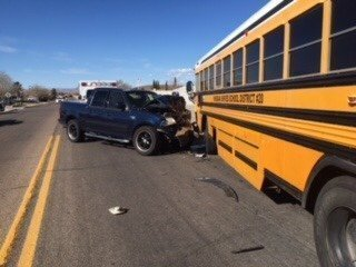 ** Injury Crash Involving School Bus and Pick-up **