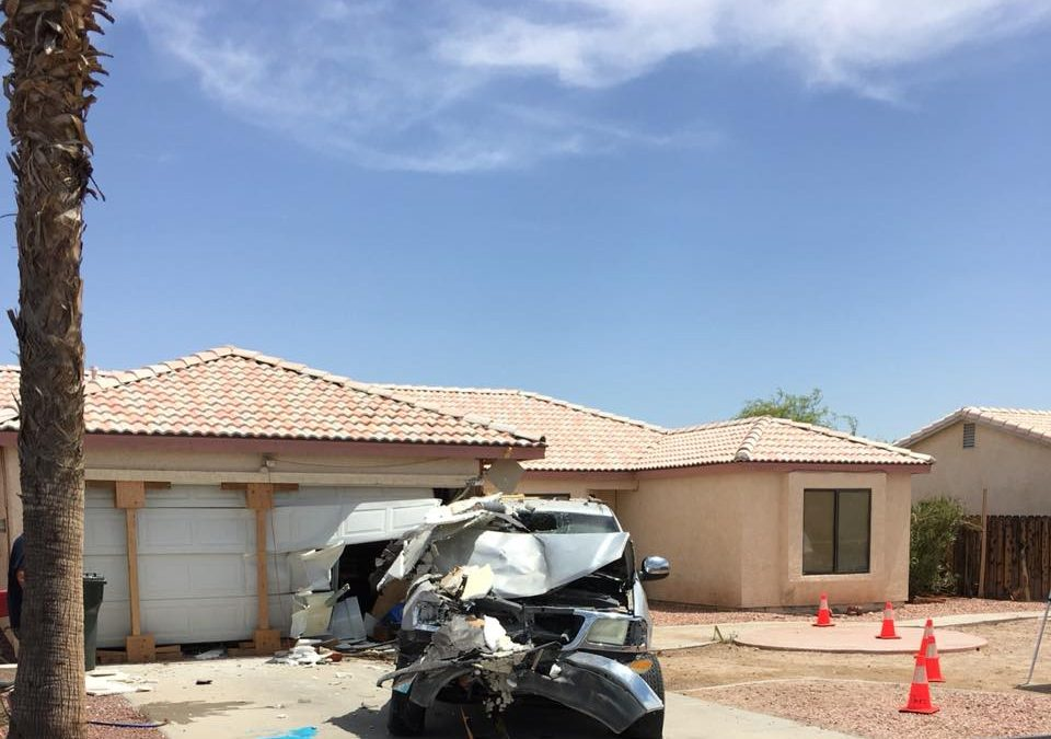 Truck Crashes Into Garage In Fort Mohave