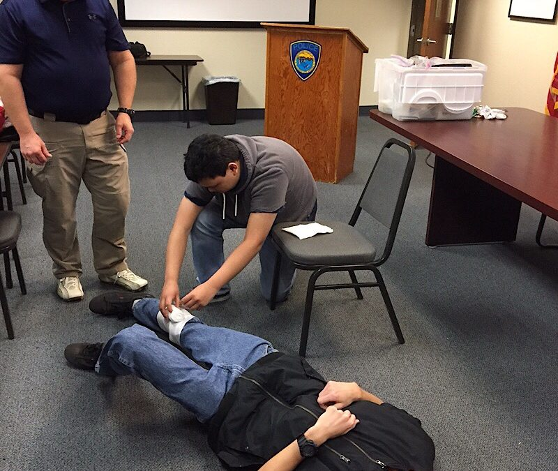 Police Explorers learned First Aid during their monthly meeting last night.