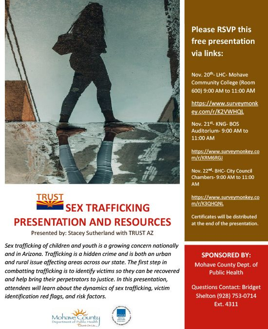 TRUST AZ- Sex Trafficking Training and Resources- Nov. 20th to 22nd